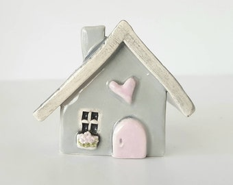 Light Gray House with Light Pink Door | Little Clay House Whimsical | Ceramic Fairy House Gnome Home | Whimsical Terrarium Decoration