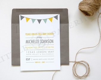 Baby Shower Invitation, Pennant Banner Invitation, Printable Custom Design