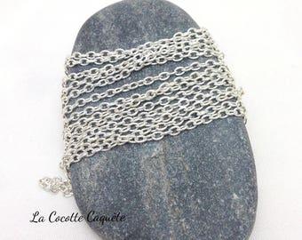 1 m chain fine mesh silver metal - 3 x 2 mm