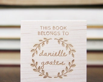 This BOOK BELONGS to or From the Library of Stamp with personalized name in wreath