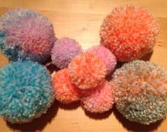 SALE. Made to order: a set of 9 extra fluffy multicolour pom poms, a mixture of small and large.