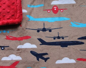 Minky Blanket Airplane Transportation Print Minky with Red Dimple Dot Minky Backing - Perfect Size a Toddler or Child