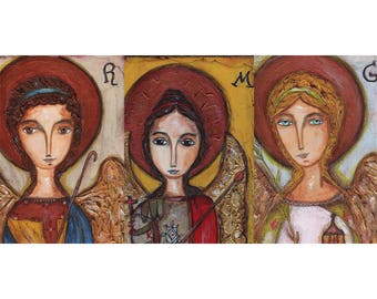 Archangels -  Giclee print mounted on Wood (3 x 6 inches) Folk Art  by FLOR LARIOS