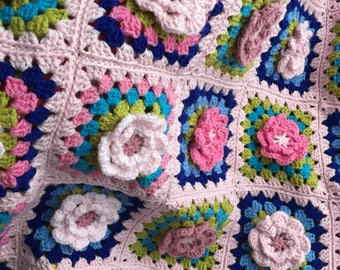 BLANKET with granny Squares Crochet Flower blanket Afghan , hand made colourful , pinks greens , boho hippie , wool flowers