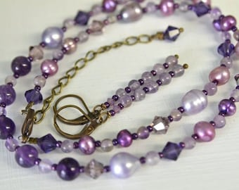 Amethyst Necklace Purple Necklace Amethyst Earrings Gemstone Necklace Ready to Ship Gemstone Earrings Set