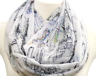 Airport infinity Scarf with aeroplane, boeing, airbus, Flight attendant Hostess pilot stewardess birthday gift for her graduation present