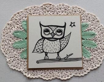 owl greeting card, black & white, owl card, christmas card, coloring in, square card, colouring in, owl print, woodland creature art, owl