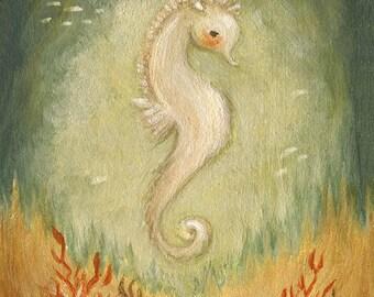 Baby Seahorse Print 8x10 - Nautical Art, Coral, Green Blue, Seahorse, Under The Sea, Nursery Art, Children's Art, Kids Art, Baby Art, Ocean
