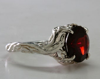 Sterling silver red garnet tree ring sunset in the branches  NYC Blue Bayer Design
