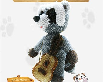 "Pattern / Tutorial Beaded Ornament - Master class for creating ""Raccoon musician"""