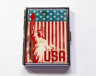 USA Cigarette Case, Statue of Liberty, Cigarette Holder, Cigarette box, Stars and Stripes, American cigarette case, USA case (6019S)