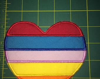 Rainbow Heart Patch Pride Love