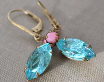 Pink and Aquamarine Estate Earrings, Lever Back, Vintage Leaf Glass Rhinestone, Antiqued Brass Earrings, Bridesmaids