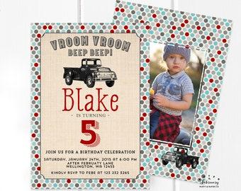 Vintage Truck Boy Birthday Invitation, Truck Birthday Invite, Photo Invitation Boy Birthday Party Printable No.113KIDS