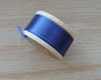 Vintage Pure Silk Buttonhole Twist Thread Spool 10 yards Size D Blue Shade 6250