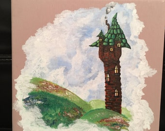 Happily Ever After (8x8) Acrylic Painting Rapunzel's Tower