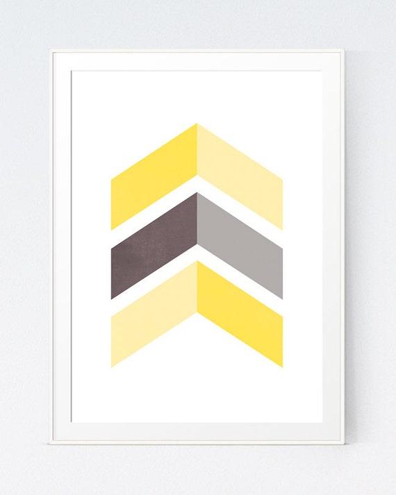 Yellow Grey Chevrons Wall Art Gray Yellow Decor Grey Yellow