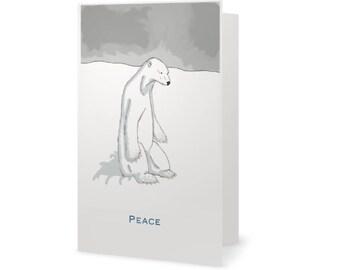 Polar Bear PEACE - Holiday Card Set of 10 Cards with envelopes - Hanukkah - Christmas Cards Set
