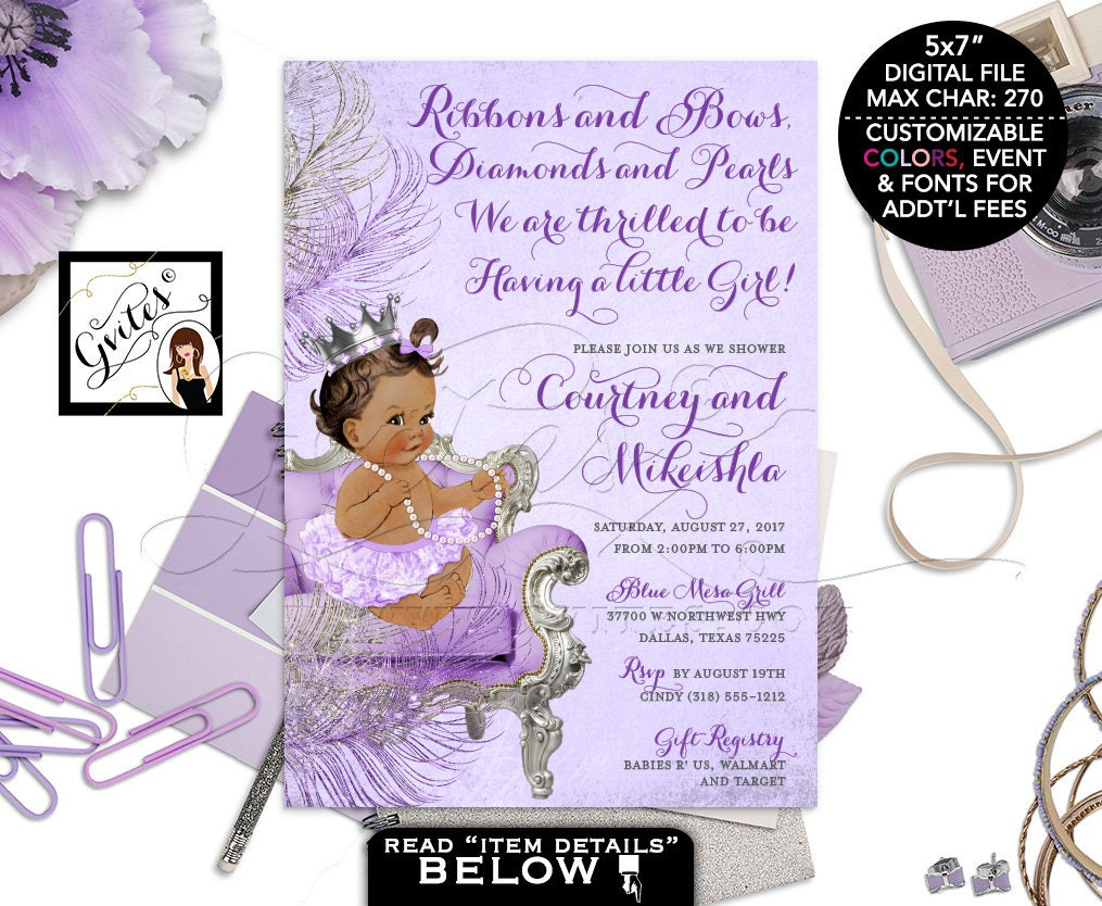 Lavender and silver baby shower invitation princess african lavender and silver baby shower invitation princess african american baby girl purple invites silver crown digital 5x7 gvites filmwisefo Choice Image