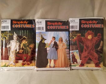 Vintage Wizard of Oz Simplicity costume patterns