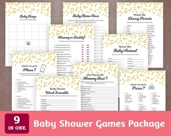 Baby Shower Games Package, Printable Party Games Bundle, Baby Shower Set Download, Gold Confetti, Bingo, Who Said It, Quotes, SPKG, B001
