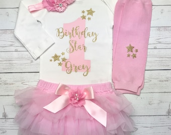 First birthday outfit girl Pink and gold, Twinkle Twinkle Little Star First Birthday Outfit, Pink and Gold outfit, Cake Smash outfit girl,
