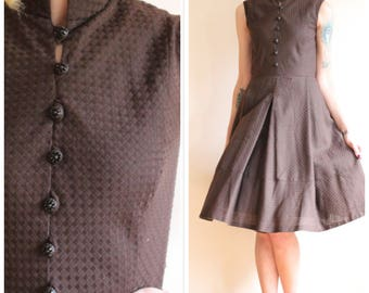 1960s Dress // Anjac Woven Cotton Dress // vintage 60s dress