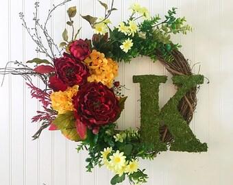 fall door wreath, fall wreath, personalized wreath, personalized decor, moss letter, wreath with letter, door wreath, spring wreath
