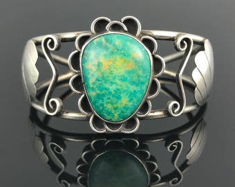 Unusual Turquoise Sterling Cuff Bracelet Native American Navajo Signed - RA