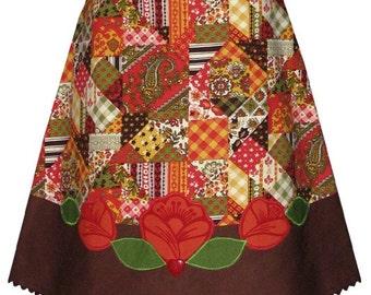 patchwork folk flower applique skirt - with vintage 70's patchwork print fabric