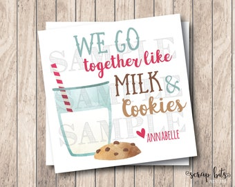 Personalized Printable We Go Together Like Milk & Cookies Tags, Printable Milk and Cookies Valentine Tags