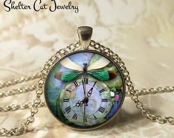 """Green Steampunk Dragonfly with a Clock Necklace - 1-1/4"""" Circle Pendant or Key Ring - Wearable Art Photo - Nature, Time, Bug, Gift for Her"""