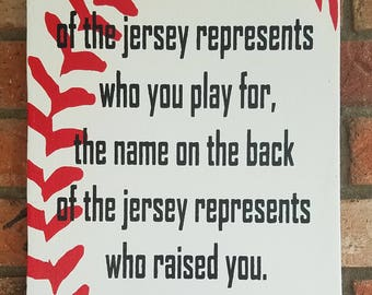 The Name On The Jersey Sign, Team Sign, Motivational Sign, Baseball Sign, Baseball  Wall Decor, Baseball Wall Art, Sports Decor, MLB Signs