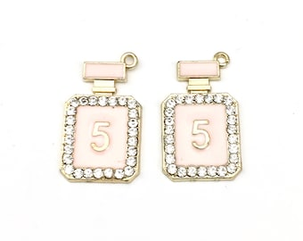 2 perfume bottle charms  gold tone and enamel,17mm to 29mm  #CH 411