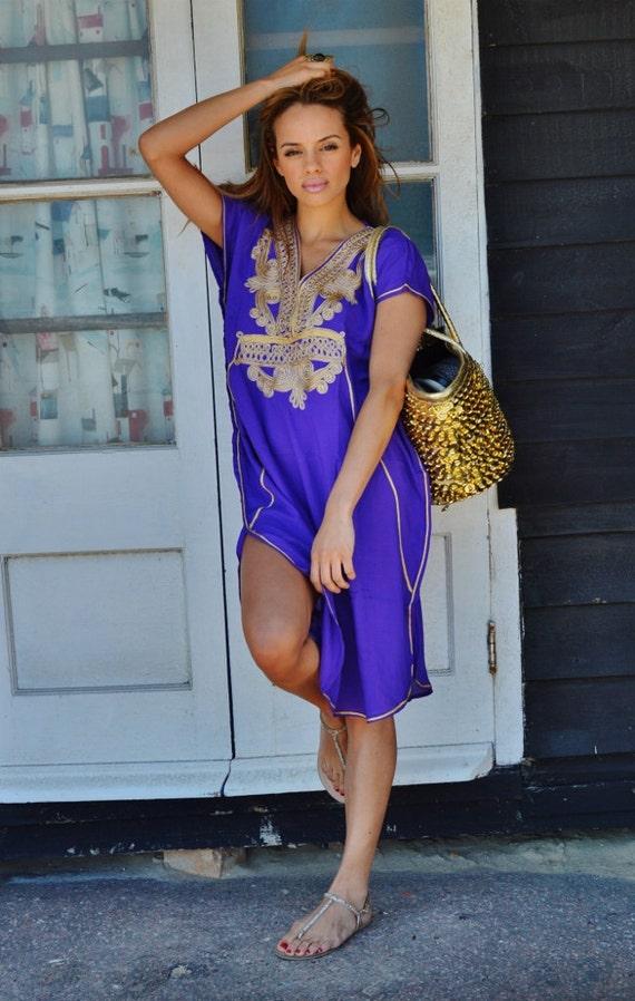 Purple with Gold Marrakech Resort Short Tunic Caftan Kaftan - for beach cover ups, resortwear,loungewear, birthdays, honeymoon, maternity