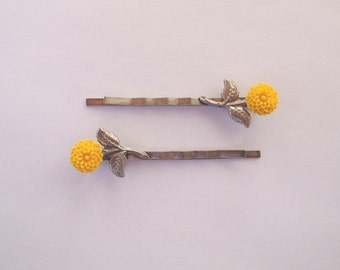 Bright Yellow Dahlia Cabochon Bobby Pins - Set of 2 Antique Silver Hair Pins - Vintage Look