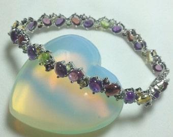 Bracelet - Multicolor Gemstone Bracelet in Sterling Silver
