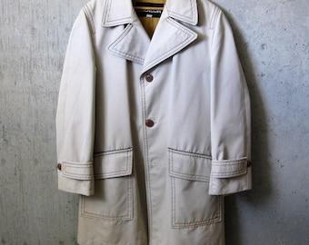 Vintage sz 36 men size trench coat beige raincoat long jacket fall women preppy mod minimalist timeless outerwear streetwear croydon canada Fsq4d