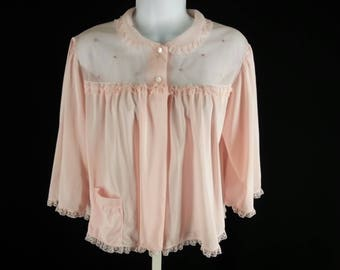 Vintage 60s pink bed jacket with lace trim chiffon yoke and pocket size medium chest 44 Shadowline