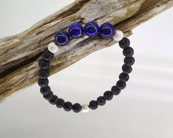 Bracelet diffuser of essential oils (optional), Crystal healing - Lapis lazuli and lava stone