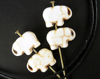 Petite Natural Stone Elephant Beads - Pack of 6 - 15mm Antiqued White Gemstone Elephants for Jewelry Making & Children's Crafts - M045