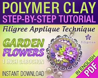 PDF Polymer clay filigree applique TUTORIAL floral pendant 1 inch cabochon. Step by step instructions. Instant download digital file. Lesson