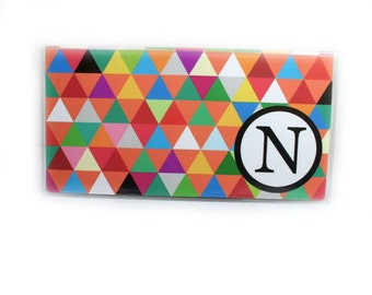 Personalized Checkbook Cover - Triangle Madness - geometric triangle print check book holder - add your initial - colorful modern accessory