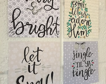 THE YULETIDE COLLECTION: Mini Calligraphy Christmas Posters