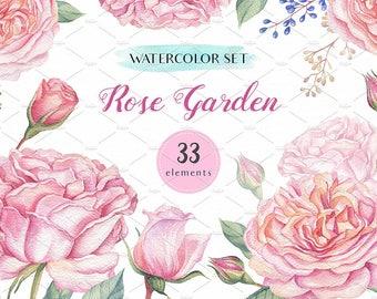 Waterolor Rose Garden