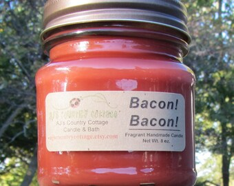 BACON!  BACON!   Bacon Candles, Men's Candles, Bacon Lover's Gift, Gag Gift, Meat Candles, Man Cave Candles, Scented Candles, Strong Candles