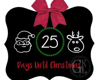 Christmas Countdown Ornate Chalkboard 8 1/2 by 11 inches decor holiday Santa reindeer bow glitter decoration vinyl blackboard chalk xmas day
