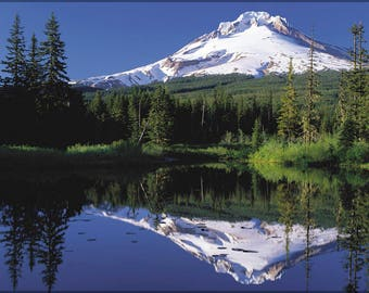 Poster, Many Sizes Available; Mount Hood Reflected In Mirror Lake, Oregon, Usa