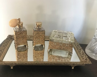 Vintage 1960's Vanity Dresser Set W/ mirrored Tray