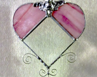 Pink Opal Heart Bevel Suncatcher with glass beads & Angel filigree